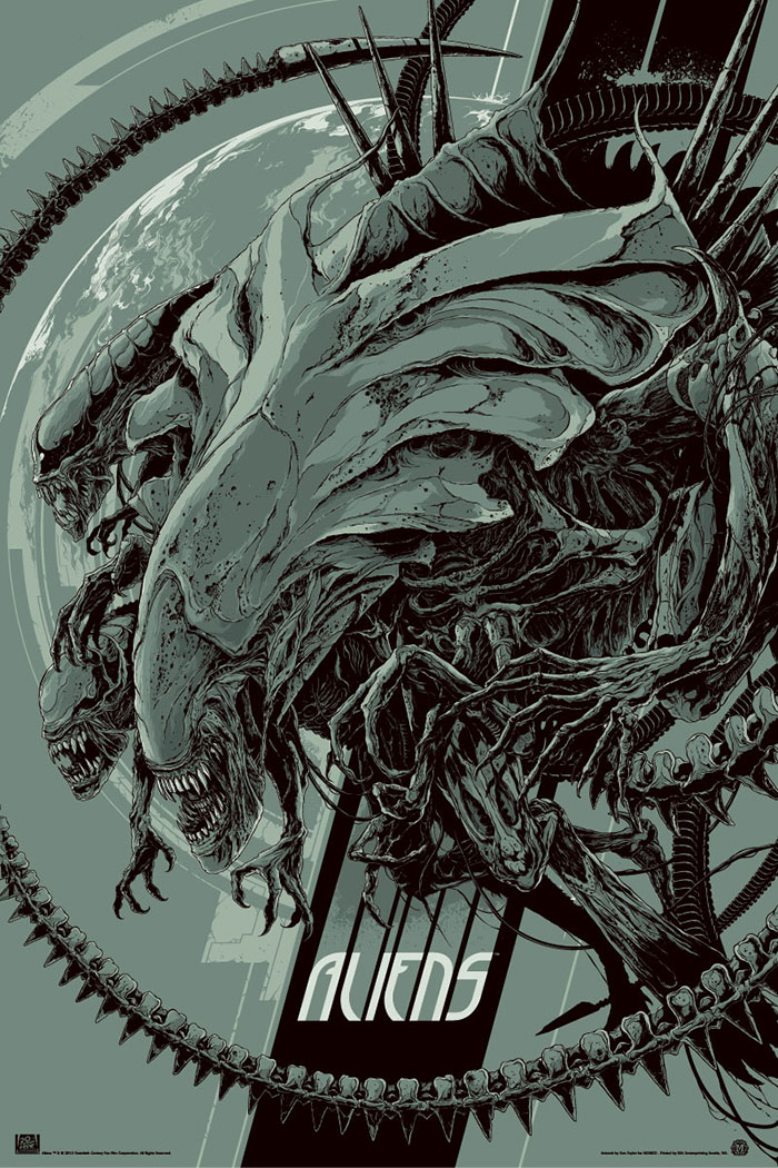 Aliens (1986) poster art by Ken Taylor