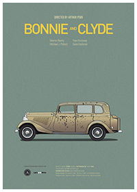 Bonnie and Clyde poster art by Jesús Prudencio