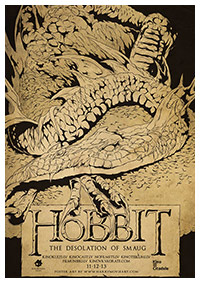 The Hobbit:  The Desolation of Smaug (2013) alternative film poster by Harijs Grundmanis
