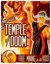 indiana Jones and the Temple of Doom travel style poster by Blain Hefner