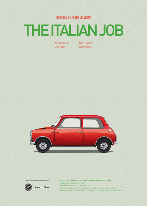 The Italian Job poster art by Jesús Prudencio